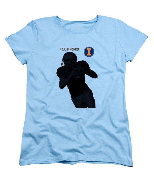 Illinois Football Women's T-Shirt (Standard Cut) by David Dehner