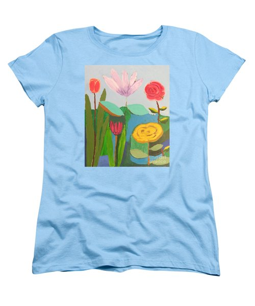 Women's T-Shirt (Standard Cut) featuring the painting Imagined Flowers One by Rod Ismay