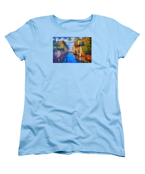 Impressionist D'art At The Canal Women's T-Shirt (Standard Cut) by Mario Carini