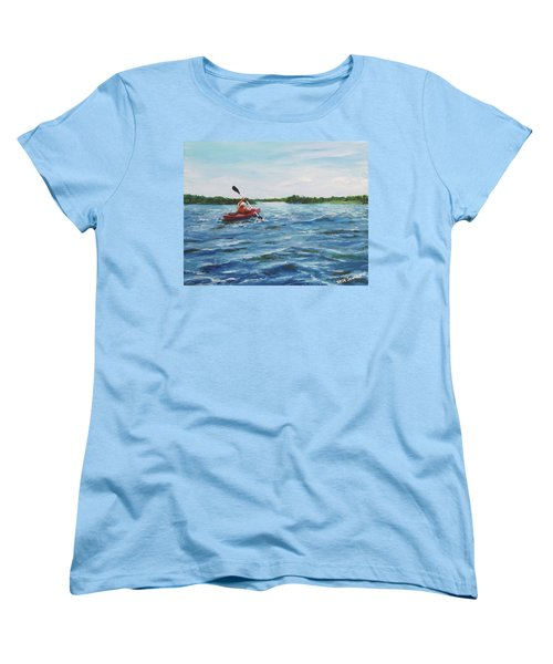 Women's T-Shirt (Standard Cut) featuring the painting In The Kayak by Jack Skinner