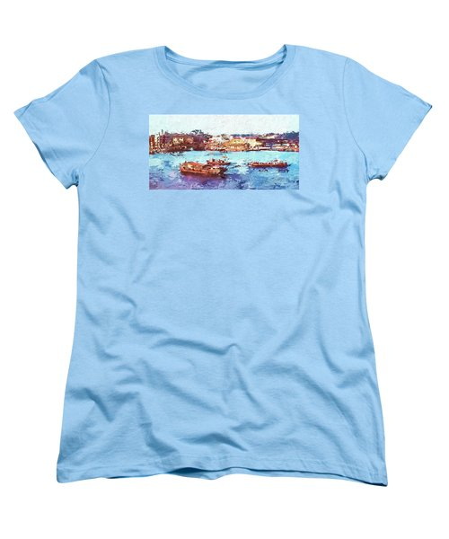 Women's T-Shirt (Standard Cut) featuring the digital art Inchon Harbor by Dale Stillman