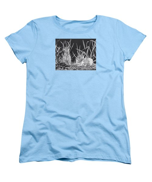 Indian Ink Rabbits Women's T-Shirt (Standard Cut) by Kevin F Heuman