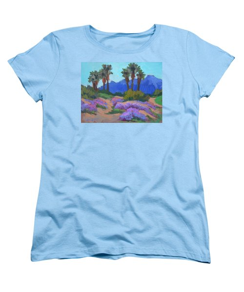 Women's T-Shirt (Standard Cut) featuring the painting Indian Wells Verbena by Diane McClary