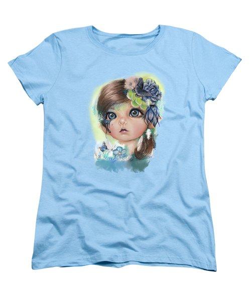 Women's T-Shirt (Standard Cut) featuring the mixed media Indigo - Butterfly Keeper - Munchkinz By Sheena Pike  by Sheena Pike