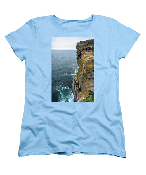 Women's T-Shirt (Standard Cut) featuring the photograph Inishmore Cliff And Dun Aengus  by RicardMN Photography