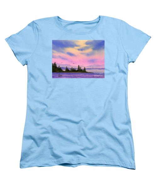 Women's T-Shirt (Standard Cut) featuring the painting Inland Sea Sunset by James Williamson