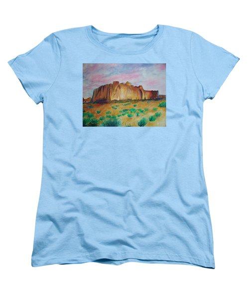 Women's T-Shirt (Standard Cut) featuring the painting Inscription Rock  by Eric  Schiabor
