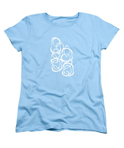 Interlocking - White On Aqua - Pattern Women's T-Shirt (Standard Cut) by Menega Sabidussi