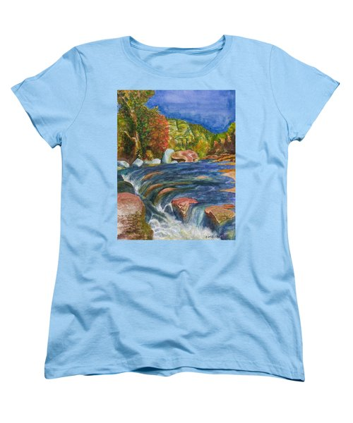 Women's T-Shirt (Standard Cut) featuring the painting Into Slide Rock by Eric Samuelson
