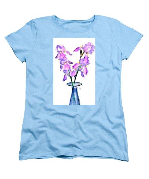 Iris Still Life In A Vase Women's T-Shirt (Standard Cut) by Marsha Heiken