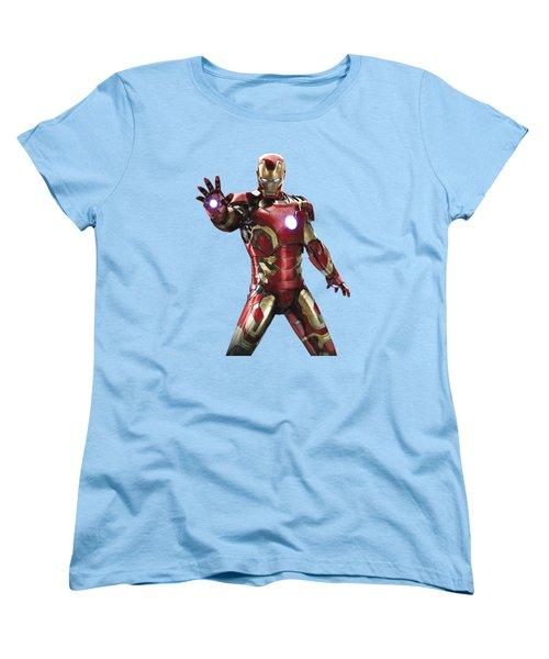 Women's T-Shirt (Standard Cut) featuring the mixed media Iron Man Splash Super Hero Series by Movie Poster Prints