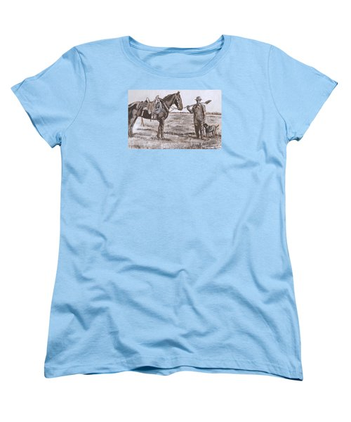 Irrigating The Hay Meadows Historical Vignette Women's T-Shirt (Standard Cut) by Dawn Senior-Trask