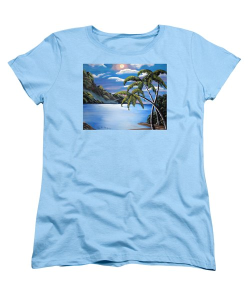 Island Night Glow Women's T-Shirt (Standard Cut) by Luis F Rodriguez