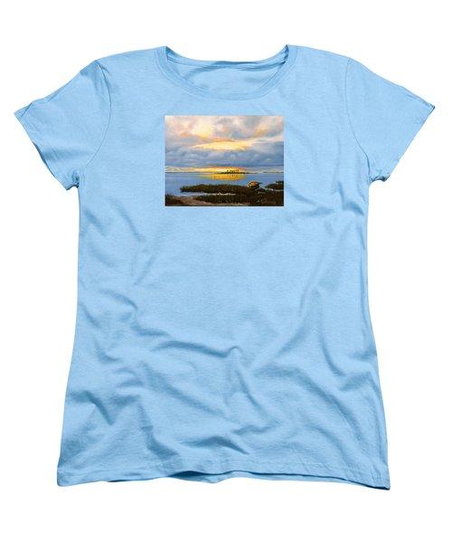 Women's T-Shirt (Standard Cut) featuring the painting Island Sunset by Rick McKinney
