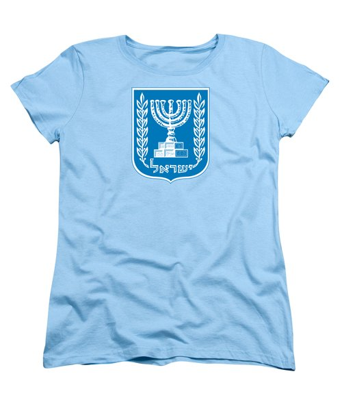 Women's T-Shirt (Standard Cut) featuring the drawing Israel Coat Of Arms by Movie Poster Prints