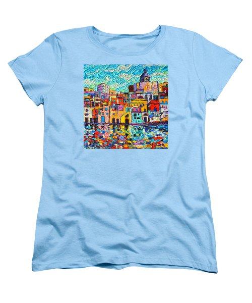 Italy Procida Island Marina Corricella Naples Bay Palette Knife Oil Painting By Ana Maria Edulescu Women's T-Shirt (Standard Cut) by Ana Maria Edulescu