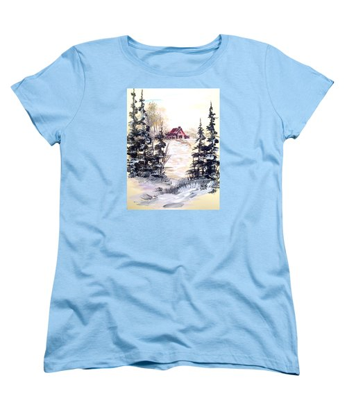 Women's T-Shirt (Standard Cut) featuring the painting It's Winter - 2 by Dorothy Maier