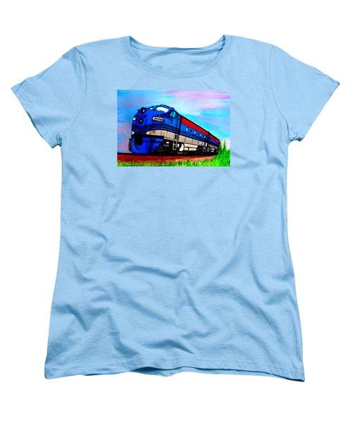 Women's T-Shirt (Standard Cut) featuring the painting Jacob The Train by Pjohn Artman