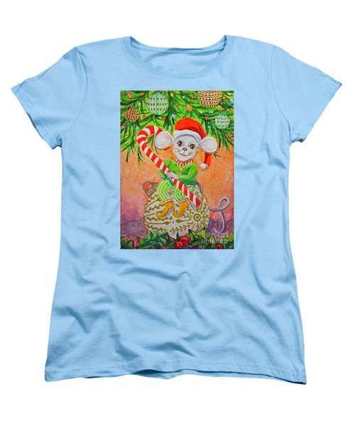 Women's T-Shirt (Standard Cut) featuring the painting Jingle Mouse by Li Newton