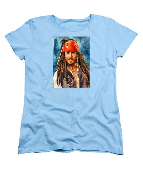 Johnny Depp As Jack Sparrow Women's T-Shirt (Standard Cut) by Charmaine Zoe