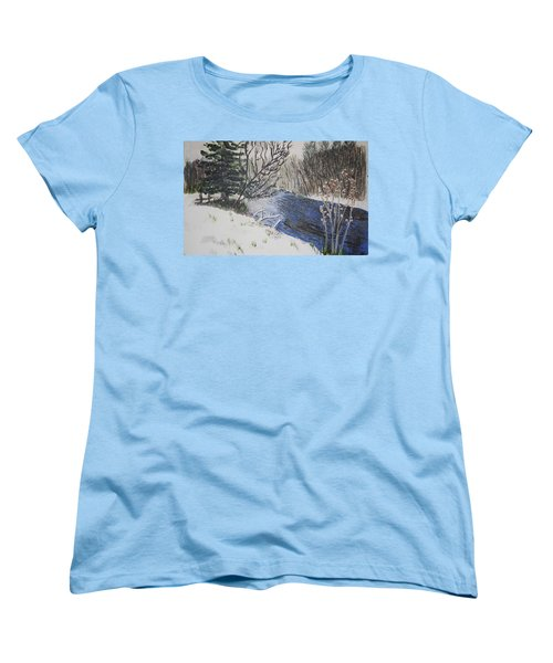 Women's T-Shirt (Standard Cut) featuring the painting Johnson Vermont In Spring Snow Storm by Donna Walsh
