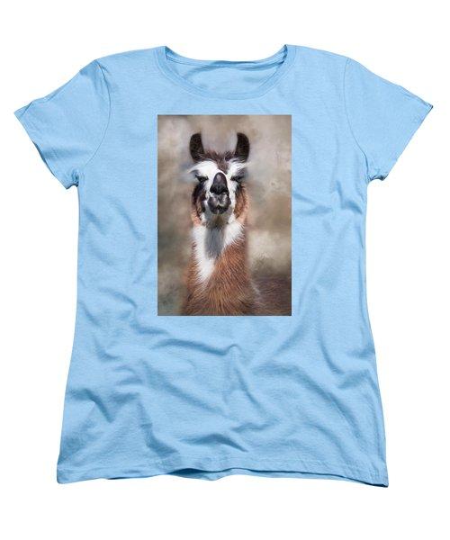 Women's T-Shirt (Standard Cut) featuring the photograph Jolly Llama by Robin-Lee Vieira