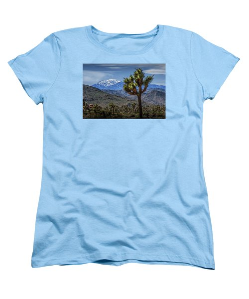 Women's T-Shirt (Standard Cut) featuring the photograph Joshua Tree In Joshua Park National Park With The Little San Bernardino Mountains In The Background by Randall Nyhof