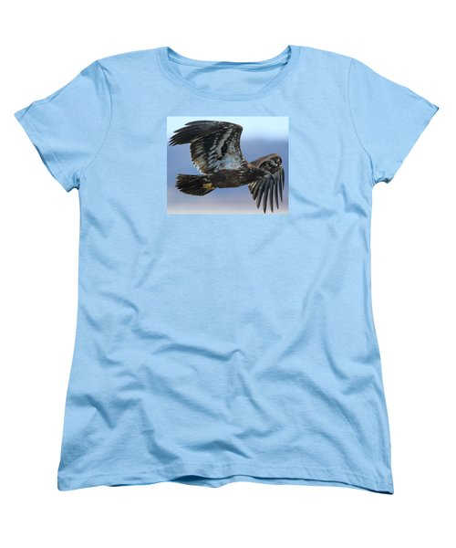 Women's T-Shirt (Standard Cut) featuring the photograph Juvenile Bald Eagle by Coby Cooper