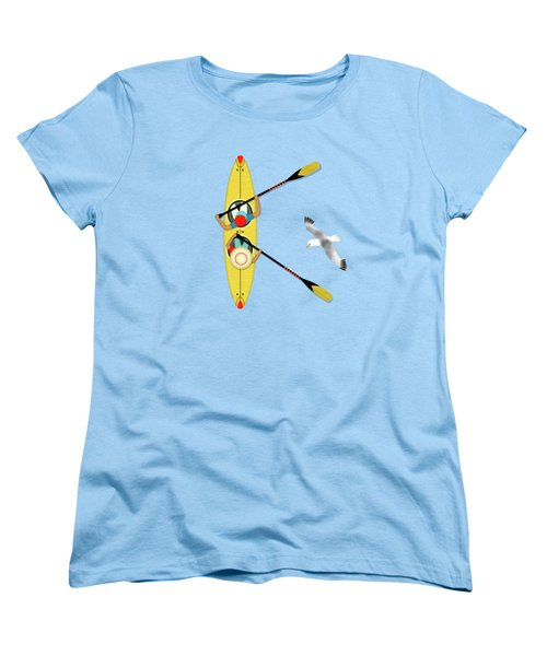 K Is For Kayak And Kittiwake Women's T-Shirt (Standard Cut) by Valerie Drake Lesiak
