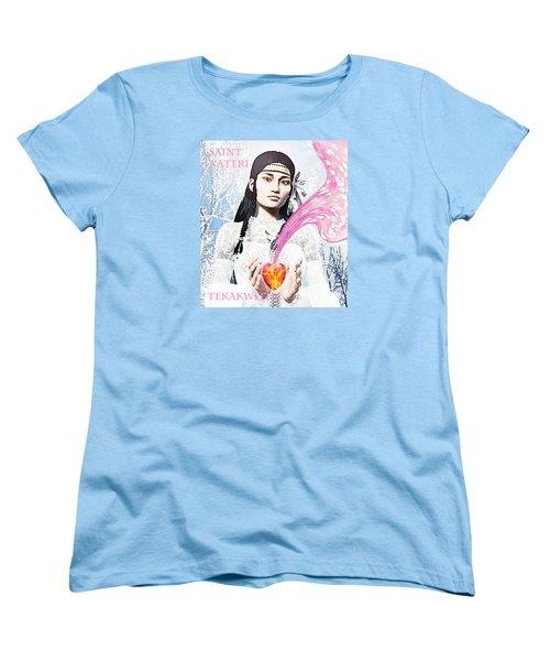 Kateri Tekakwitha Valentine Image Women's T-Shirt (Standard Cut) by Suzanne Silvir
