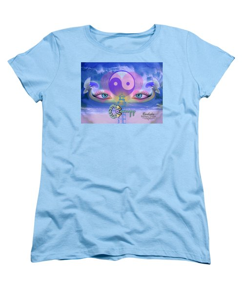 Women's T-Shirt (Standard Cut) featuring the digital art Hope Is The Key To Balance Love And Peace by Barbara Tristan