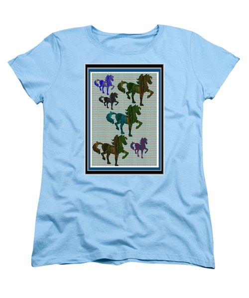 Kids Fun Gallery Horse Prancing Art Made Of Jungle Green Wild Colors Women's T-Shirt (Standard Cut) by Navin Joshi