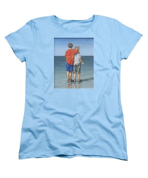 Women's T-Shirt (Standard Cut) featuring the painting Kids by Natalia Tejera