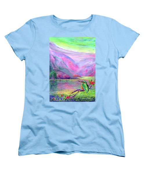 Kingfisher, Shimmering Streams Women's T-Shirt (Standard Cut) by Jane Small