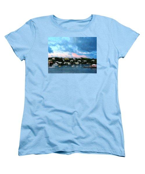 Women's T-Shirt (Standard Cut) featuring the photograph King's Wharf Bermuda Harbor Sunrise by Susan Savad