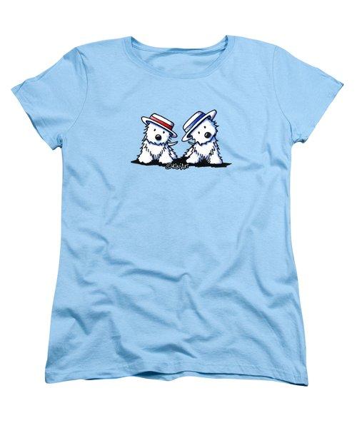 Kiniart Westie Dancing Duo Women's T-Shirt (Standard Cut)