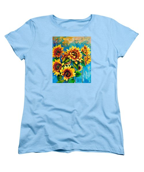 Women's T-Shirt (Standard Cut) featuring the painting Kissed By God by Karen Showell