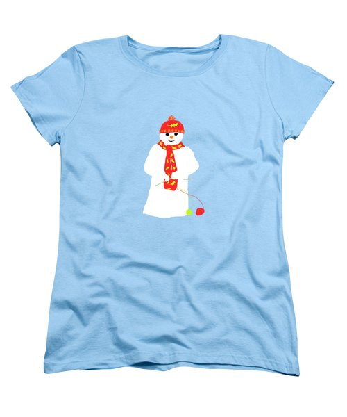 Women's T-Shirt (Standard Cut) featuring the digital art Knitting Snowman by Barbara Moignard