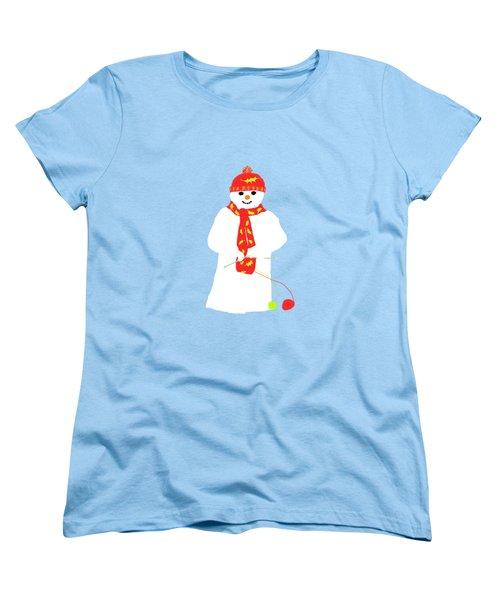 Knitting Snowman Women's T-Shirt (Standard Cut) by Barbara Moignard