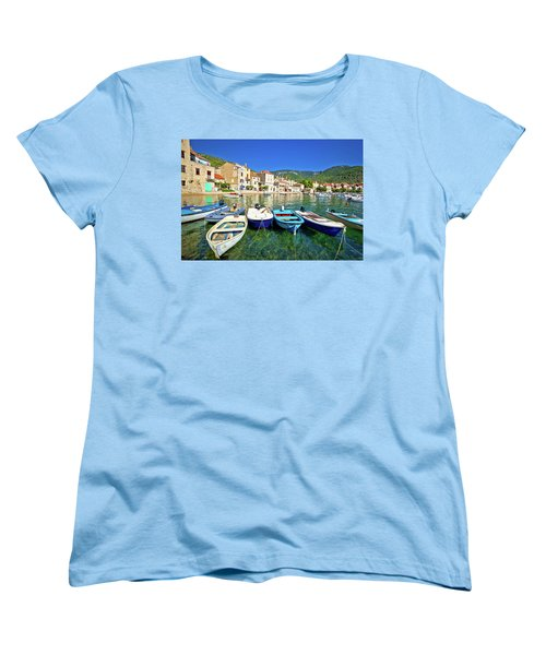 Komiza On Vis Island Turquoise Waterfront Women's T-Shirt (Standard Cut) by Brch Photography
