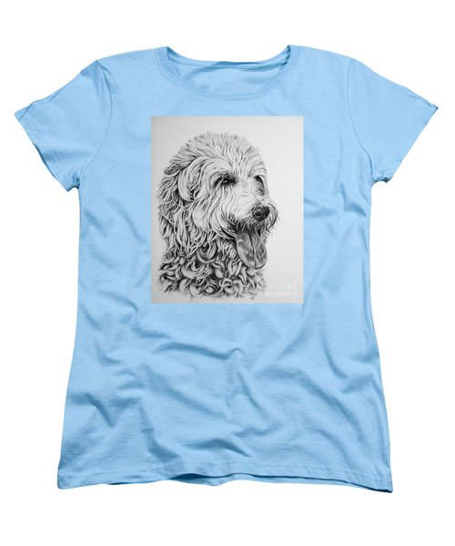Women's T-Shirt (Standard Cut) featuring the drawing Labradoodle by Terri Mills