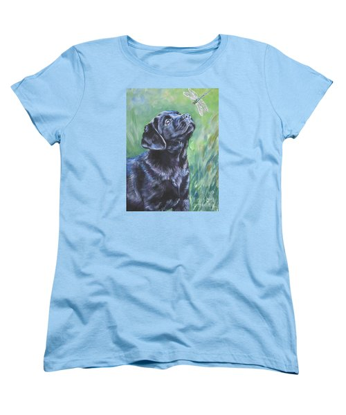 Labrador Retriever Pup And Dragonfly Women's T-Shirt (Standard Cut) by Lee Ann Shepard