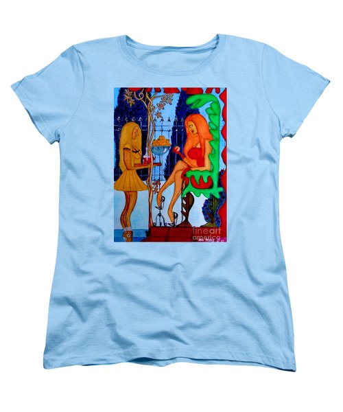 Women's T-Shirt (Standard Cut) featuring the painting Lady And Her Maid by Don Pedro De Gracia