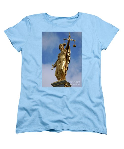 Women's T-Shirt (Standard Cut) featuring the photograph Lady Justice In Bruges by RicardMN Photography