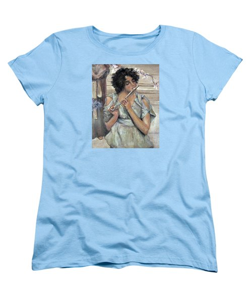 Lady Playing Flute Women's T-Shirt (Standard Cut) by Donna Tucker