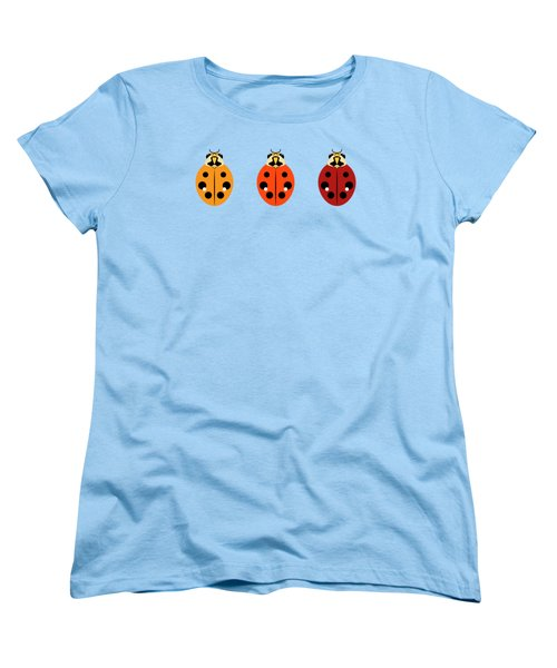 Women's T-Shirt (Standard Cut) featuring the digital art Ladybug Trio Horizontal by MM Anderson