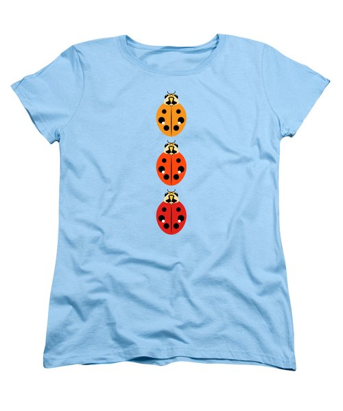 Women's T-Shirt (Standard Cut) featuring the digital art Ladybug Trio Vertical by MM Anderson