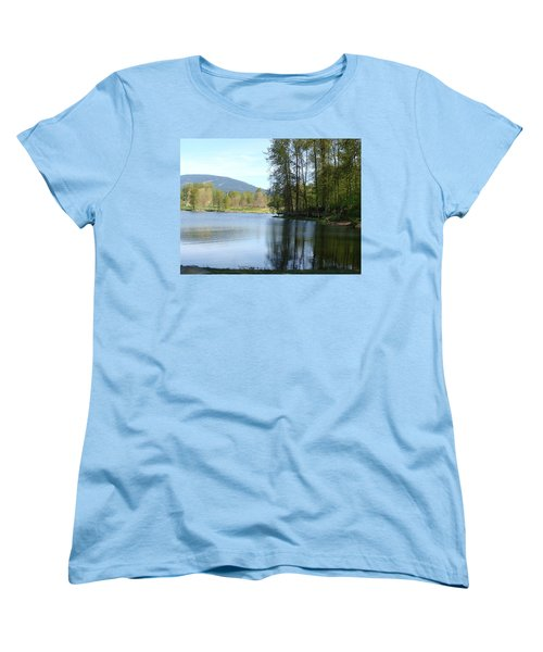 Women's T-Shirt (Standard Cut) featuring the painting Lafarge Lake Serenity by Rod Jellison