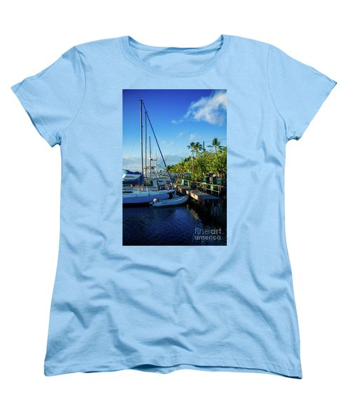 Women's T-Shirt (Standard Cut) featuring the photograph Lahaina Marina Blue Twilight by Sharon Mau