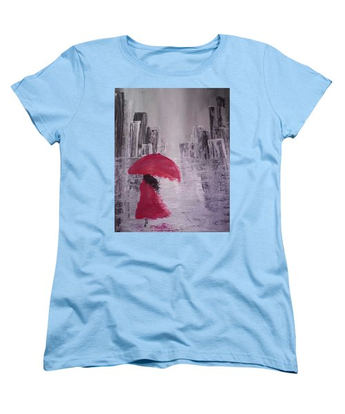 Women's T-Shirt (Standard Cut) featuring the painting Laidy In The City Abstract Art by Sheila Mcdonald